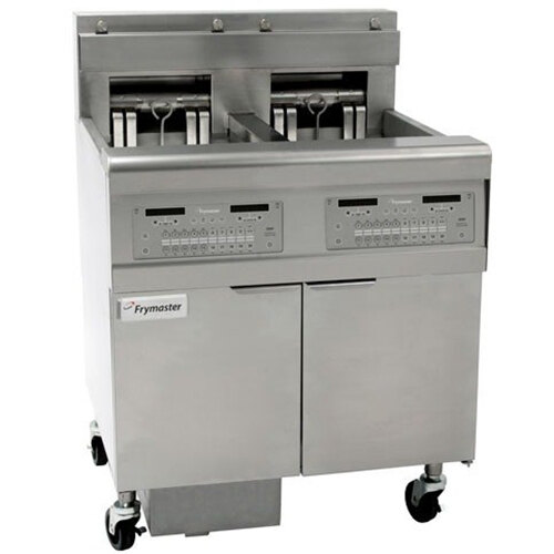 Frymaster FPEL414-4LCA Electric Floor Fryer with Two Full Right Frypots / Two Left Split Pots and Automatic Top Off - 14 kW