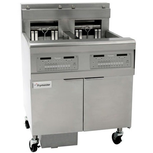 Frymaster FPEL214-CA Electric Floor Fryer with Two 30 lb. Frypots and Automatic Top Off - 14 kW