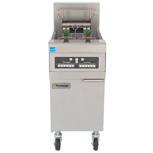 Frymaster RE14-2BLC-SD 50 lb. Split Pot High Efficiency Electric Floor Fryer with Computer Magic Controls and Basket Lifts - 14 KW