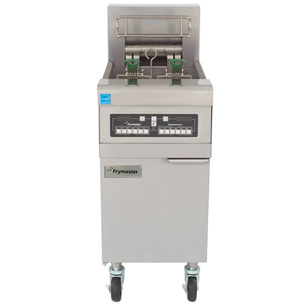 Frymaster RE17-2C-SD 50 lb. Split Pot High Efficiency Electric Floor Fryer with Computer Magic Controls - 17 KW