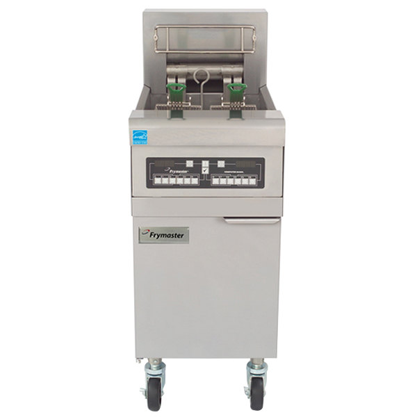 Frymaster RE22-2BLC-SD 50 lb. Split Pot High Efficiency Electric Floor Fryer with Computer Magic Controls and Basket Lifts - 22 KW