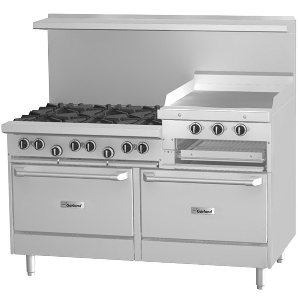 "Garland G60-6R24RR 6 Burner 60"" Gas Range with 24"" Raised Griddle / Broiler and 2 Standard Ovens - 307,000 BTU"