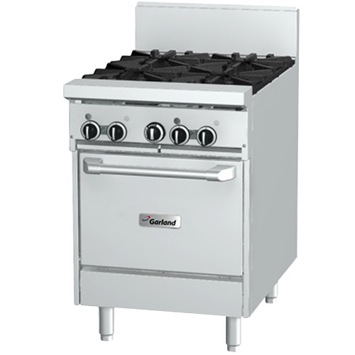 "Garland GF24-2G12L 2 Burner 24"" Gas Range with Flame Failure Protection, 12"" Griddle, and Space Saver Oven - 102,000 BTU"