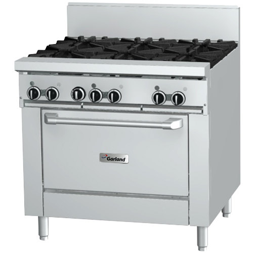 "Garland GF36-4G12R 4 Burner 36"" Gas Range with Flame Failure Protection, 12"" Griddle, and Standard Oven - 160,000 BTU"