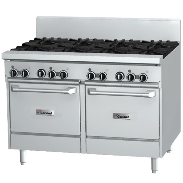 "Garland GF48-4G24LL 4 Burner 48"" Gas Range with Flame Failure Protection, 24"" Griddle, and 2 Space Saver Ovens - 204,000 BTU"