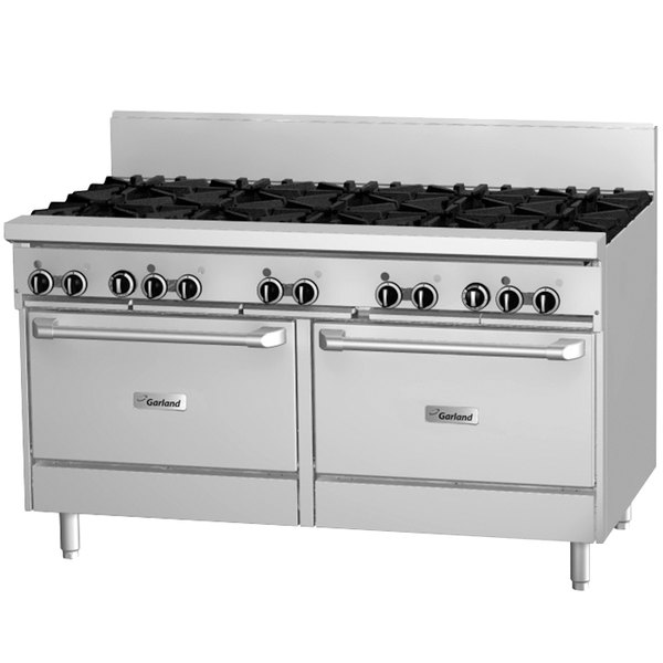 "Garland GF60-10RR 10 Burner 60"" Gas Range with Flame Failure Protection and 2 Standard Ovens - 336,000 BTU"