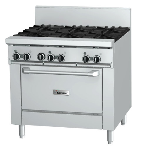 "Garland GFE36-2G24R 2 Burner 36"" Gas Range with Flame Failure Protection and Electric Spark Ignition, 24"" Griddle, and Standard Oven - 126,000 BTU"