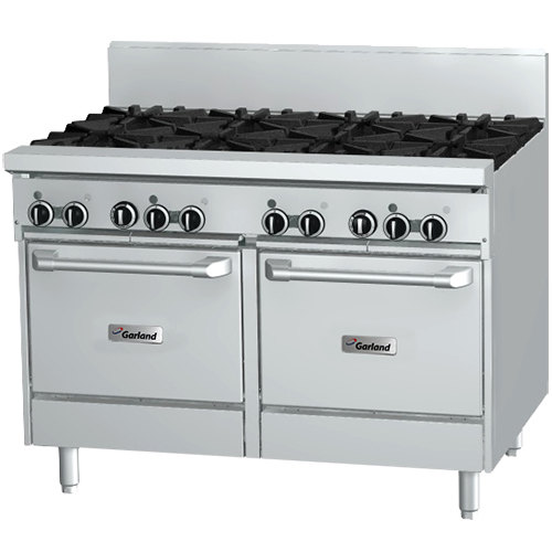 "Garland GFE48-4G24LL 4 Burner 48"" Gas Range with Flame Failure Protection and Electric Spark Ignition, 24"" Griddle, and 2 Space Saver Ovens - 204,000 BTU"