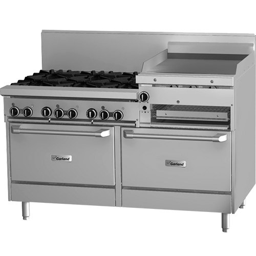 "Garland GFE60-6R24RR 6 Burner 60"" Gas Range with Flame Failure Protection and Electric Spark Ignition, 24"" Raised Griddle / Broiler, and 2 Standard Ovens - 265,000 BTU"