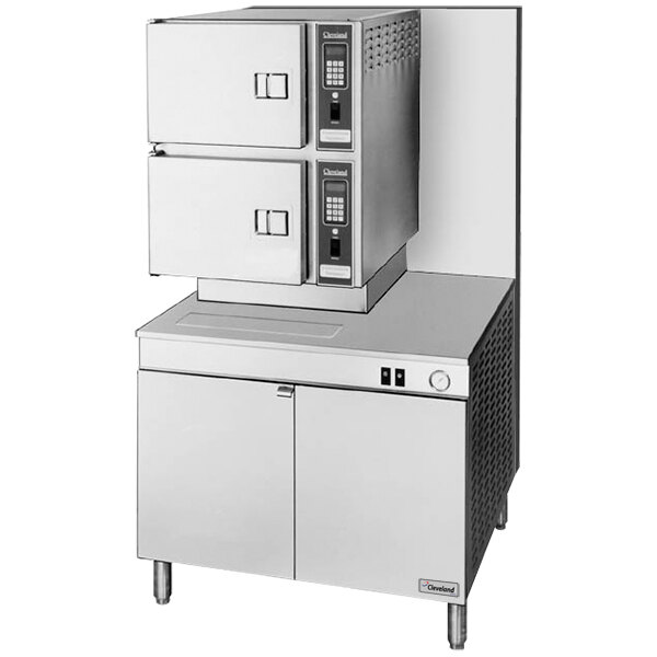 Cleveland 36-CGM-300 Classic Series 6 Pan Gas Convection Floor Steamer with Boiler Base - 300,000 BTU
