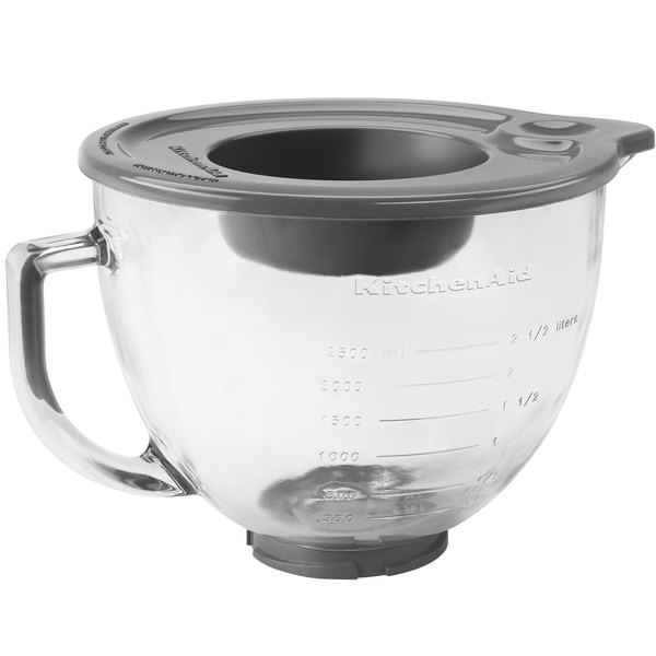 kitchenaid k5gb 5 qt glass mixing bowl with handle and lid for stand mixers