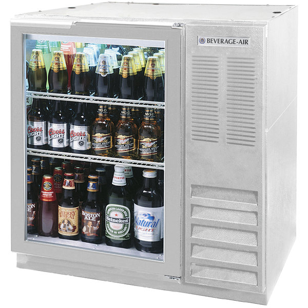 "Beverage Air BB36G-1-S-LED 36"" Glass Door Back Bar Refrigerator - Stainless Steel"