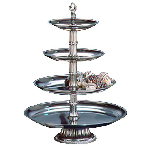 "Apex CLA20-161210-S Classic Series Four Tier Food Tray with Silver Column - 27"" High"