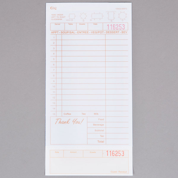 Choice 2 Part Tan and White Carbonless Guest Check with Beverage Lines and Bottom Guest Receipt - 250/Pack