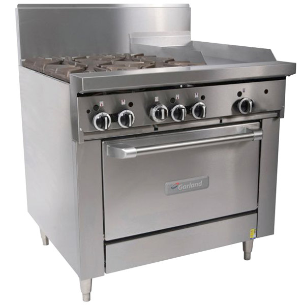 "Garland G36-4G12C 4 Burner 36"" Gas Range with 12"" Griddle and Convection Oven - 188,000 BTU"