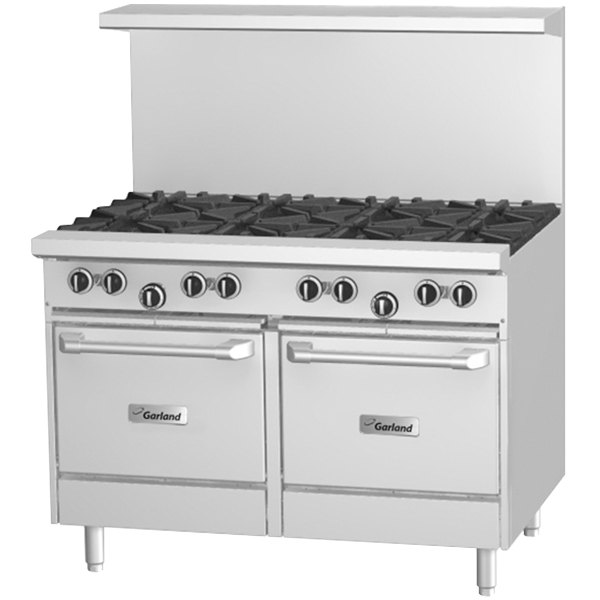 "Garland G48-G48CS 48"" Gas Range with 48"" Griddle, Convection Oven, and Storage Base - 110,000 BTU"