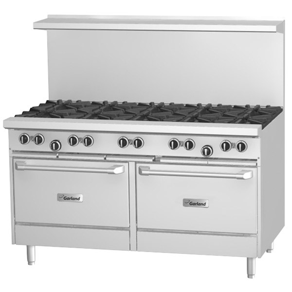 "Garland G60-10CS 10 Burner 60"" Gas Range with Convection Oven and Storage Base - 368,000 BTU"
