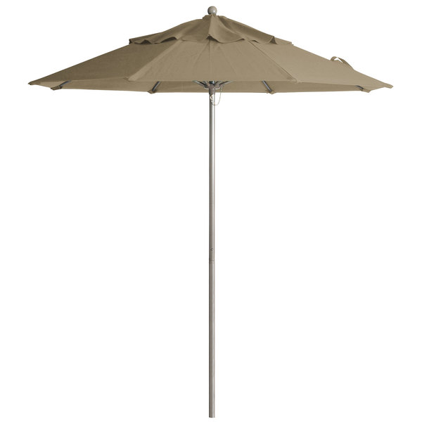 "Grosfillex 98818131 Windmaster 9' Taupe Fiberglass Umbrella with 1 1/2"" Aluminum Pole"