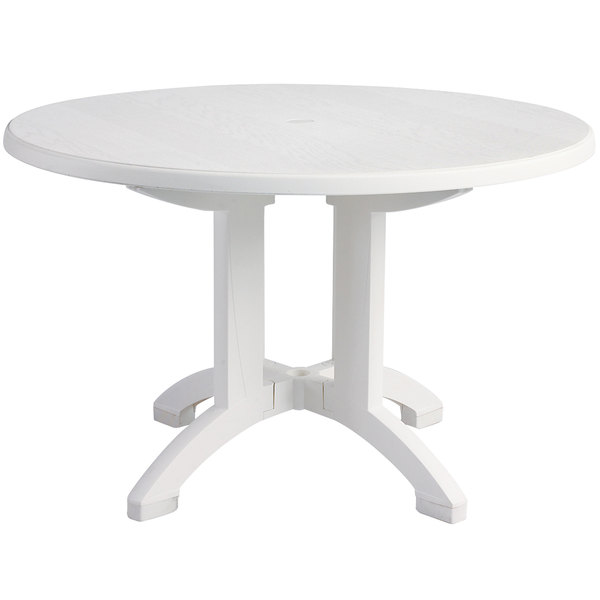 "Grosfillex US243104 Aquaba 48"" White Round Resin Pedestal Outdoor Table"