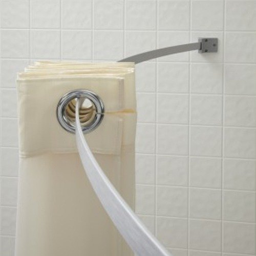 5 39 Aluminum Curved Shower Curtain Rod Brushed Nickel Finish