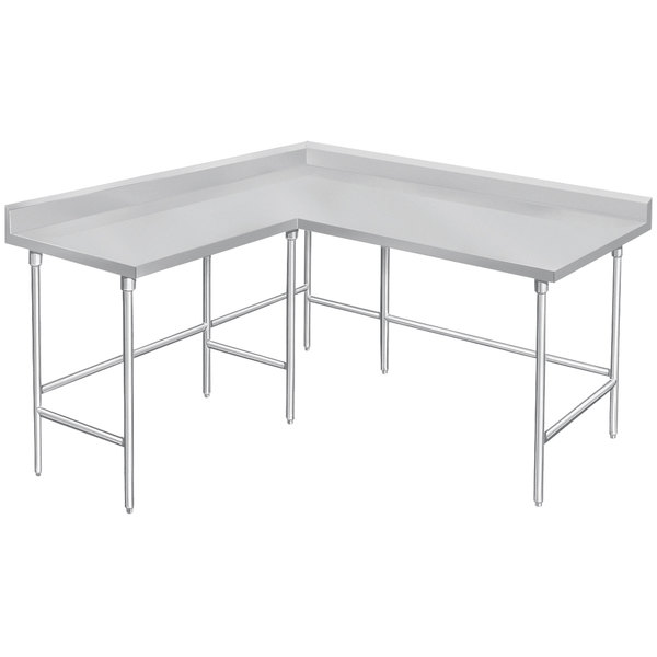 "Advance Tabco KTMS-306 30"" x 72"" 14 Gauge L-Shaped Corner SS Commercial Work Table"