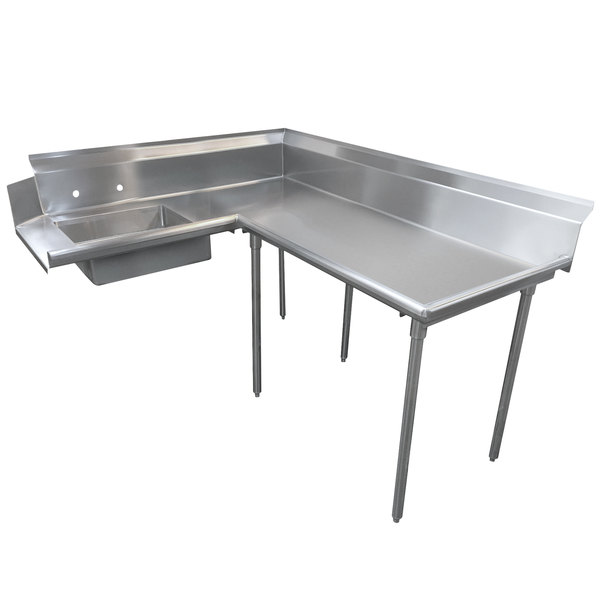 Right Table Advance Tabco DTS-K60-48 4' Super Saver Stainless Steel Soil L-Shape Dishtable
