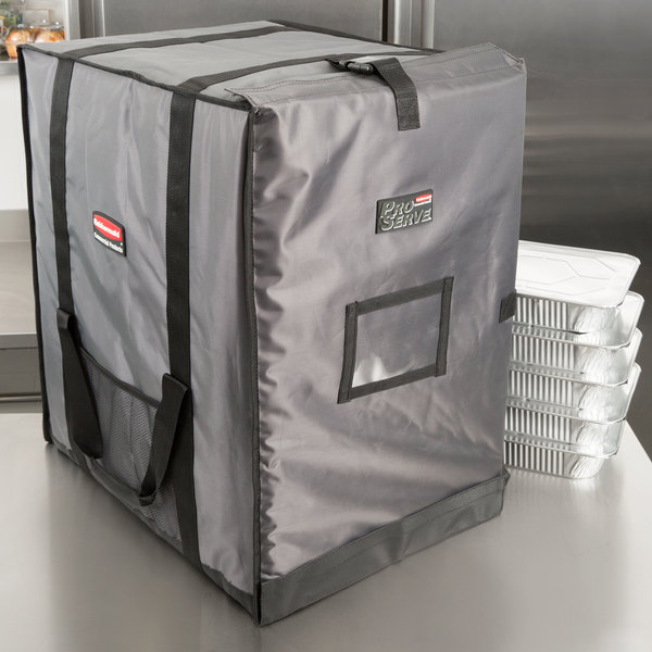 "Rubbermaid FG9F1400CGRAY ProServe Insulated Food Pan Carrier End Load Full Size Gray Nylon 27"" x 21 1/2"" x 29"""