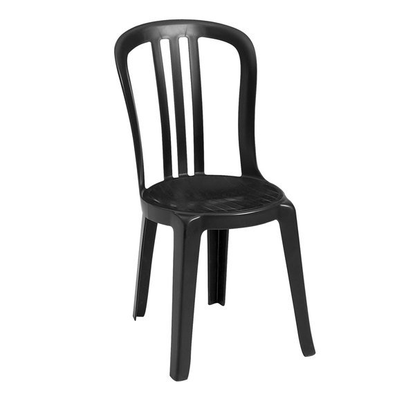 Case of 32 Grosfillex US495517 / US495017 Miami Bistro Black Outdoor Stacking Resin Sidechair