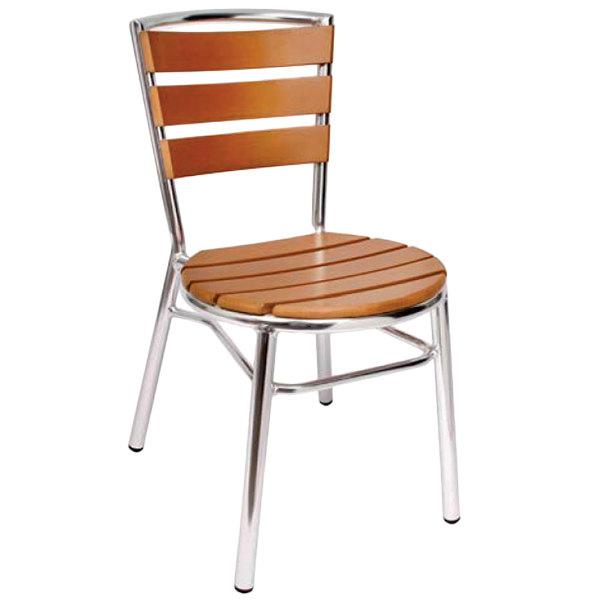 Gartenmobel Kettler Auflagen :  Outdoor  Indoor Stackable Aluminum and Synthetic Teak Side Chair