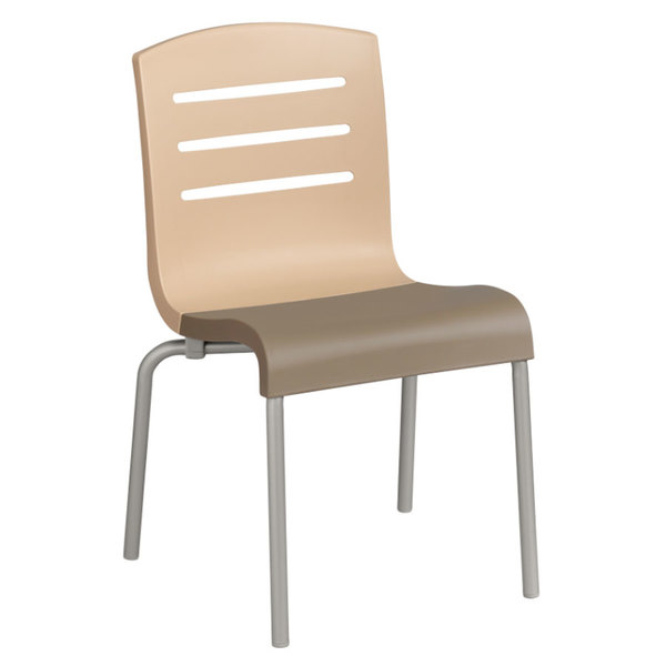 Grosfillex US041413 Domino Indoor Stacking Resin Chair with Beige Back and Taupe Seat - 4/Pack