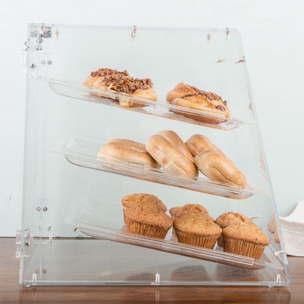 "Carlisle SPD300KD07 18"" x 14"" x 17 1/2"" Unassembled Three-Tray Acrylic Bakery Display Case with Back Door"