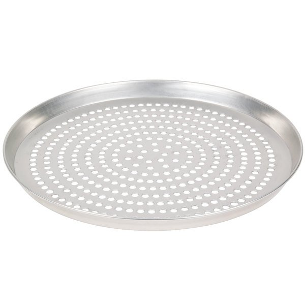 "American Metalcraft SPTDEP10 10"" x 1"" Super Perforated Tin-Plated Steel Tapered / Nesting Deep Dish Pizza Pan"
