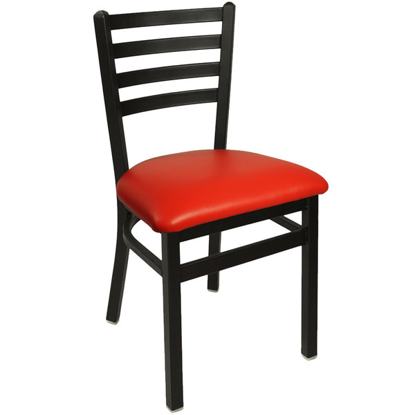 "BFM Seating 2160CRDV-SB Lima Sand Black Steel Side Chair with 2"" Red Vinyl Seat"