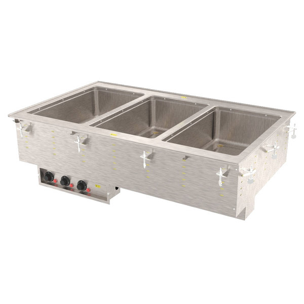 Vollrath 36405 Modular Drop In Three Compartment Hot Food Well with Infinite Controls and Standard Drain - 208V, 1875W