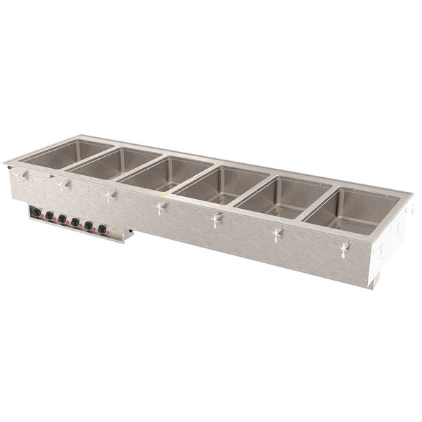 Vollrath 3640911 Modular Drop In Six Compartment Hot Food Well with Thermostatic Controls and Standard Drain - 208/240V, 6000W