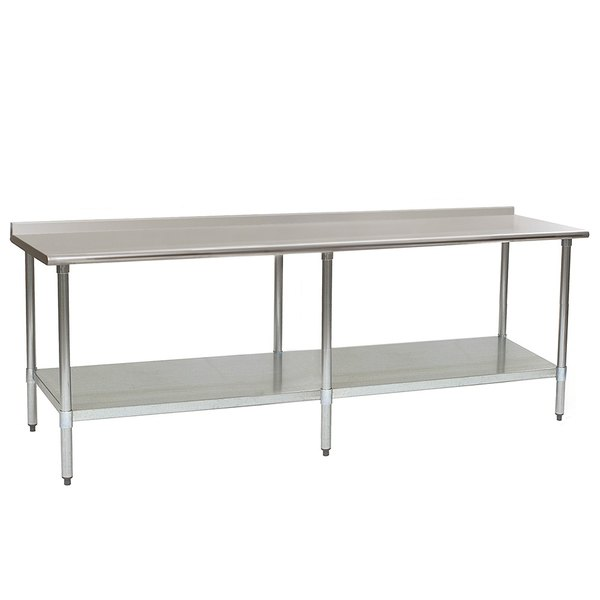 "Eagle Group UT36120SEB 36"" x 120"" Stainless Steel Work Table with Undershelf and 1 1/2"" Backsplash"