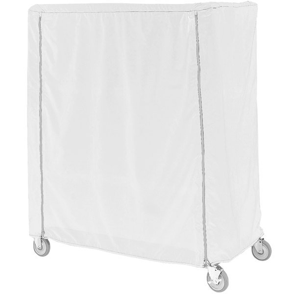 "Metro 24X48X74C White Coated Waterproof Vinyl Shelf Cart and Truck Cover with Zippered Closure 24"" x 48"" x 74"""