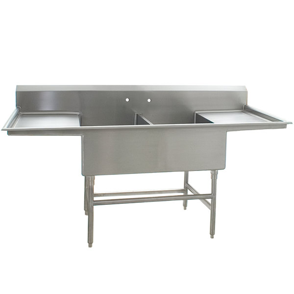 "Eagle Group FFN2748-2-30-14/3 Two 27"" x 24"" Bowl Stainless Steel Spec-Master Flush Front Commercial Compartment Sink with Two 30"" Drainboards"