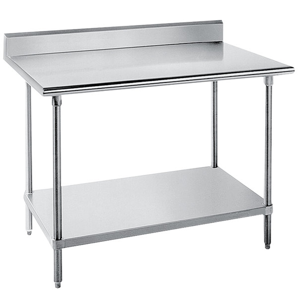 "Advance Tabco KLG-367 36"" x 84"" 14 Gauge Work Table with Galvanized Undershelf and 5"" Backsplash"