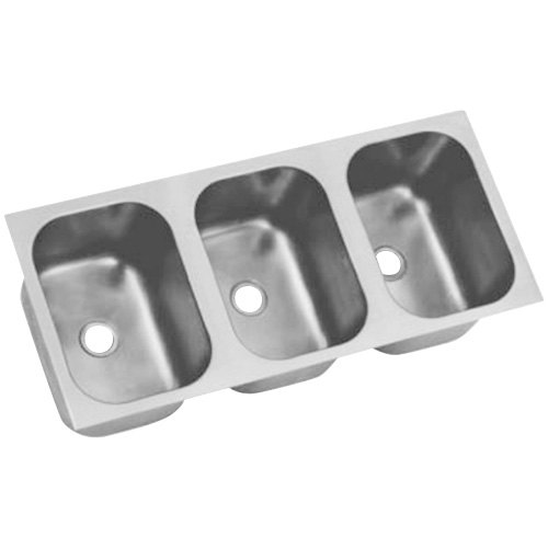 "Eagle Group FDI-10-14-9.5-3 Three Compartment 16"" x 36"" Seamless Weld In Sink - 9 1/2"" Deep"