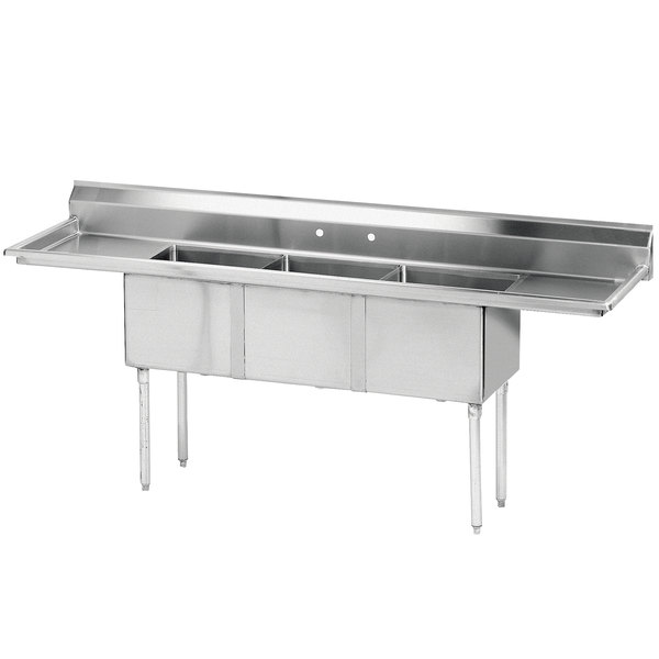 advance three compartment stainless steel commercial sink two drainboards 3 drain stopper faucet with sprayer 2 revit