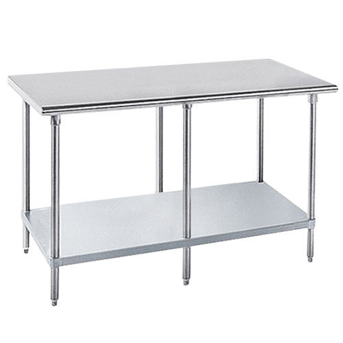 "Advance Tabco GLG-3010 30"" x 120"" 14 Gauge Stainless Steel Work Table with Galvanized Undershelf"
