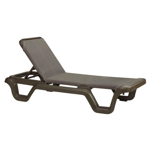 Grosfillex 99515137 / US515137 Marina Bronze Mist / Espresso Stacking Adjustable Resin Sling Chaise