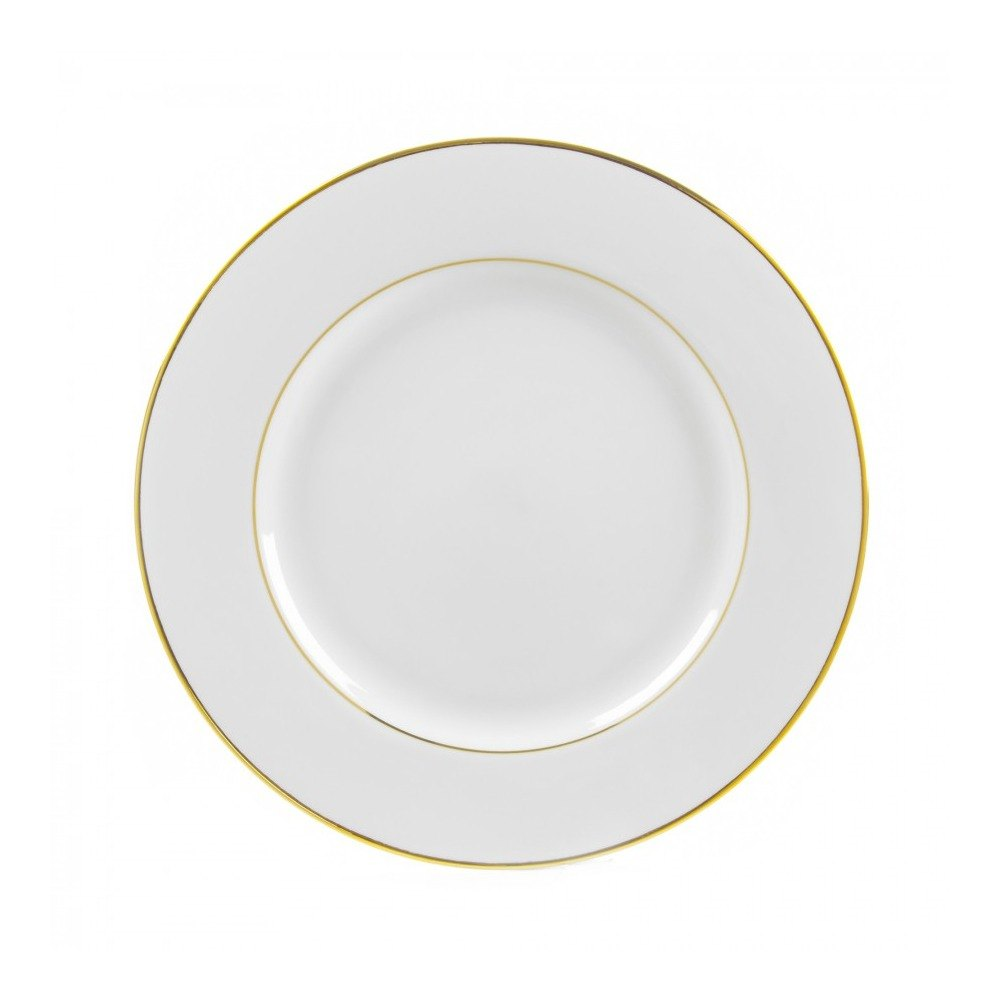 "10 Strawberry Street GLD0002 9 1/8"" Double Line Gold Luncheon Plate - 24/Case"