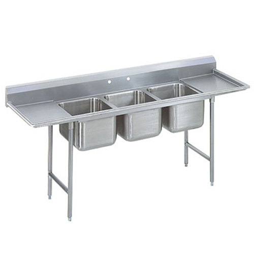 Advance Tabco 9-3-54-36RL Super Saver Three Compartment Pot Sink with Two Drainboards - 127""