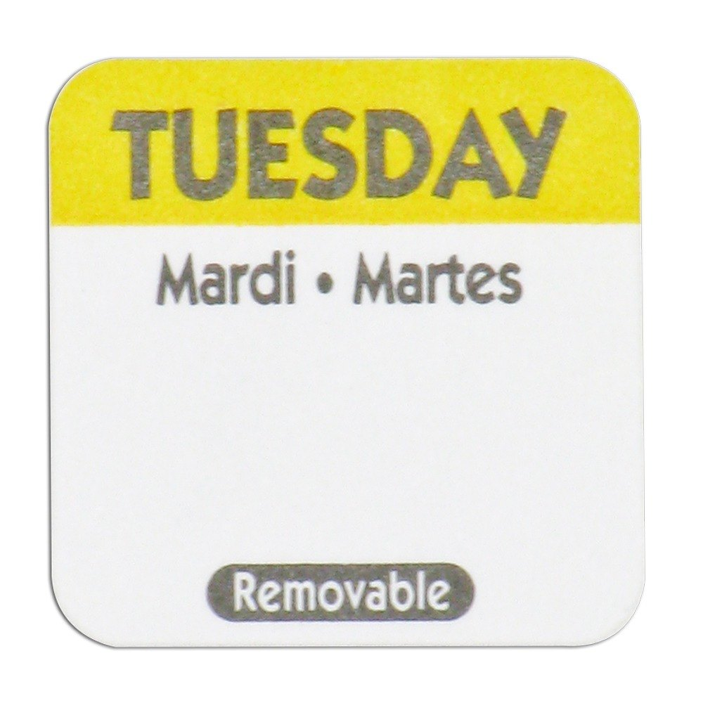 Tuesday Day Dot Removable Label 1 inch 1000 / Roll