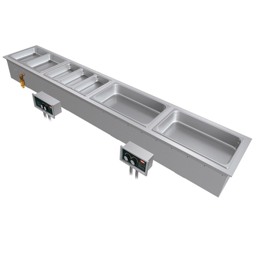 Hatco HWBI-S4M Slim Four Compartment Modular / Ganged Drop In Hot Food Well with Manifold Drain and Split Configuration - 208V, 3 Phase, 4815W