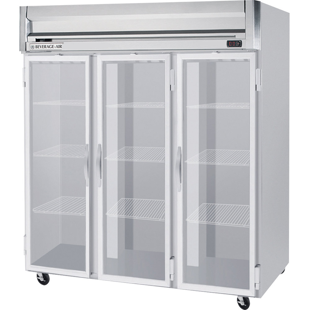 Beverage Air HR3-1G 3 Section Glass Door Reach-In Refrigerator - 74 cu. ft., SS Front, Gray Exterior