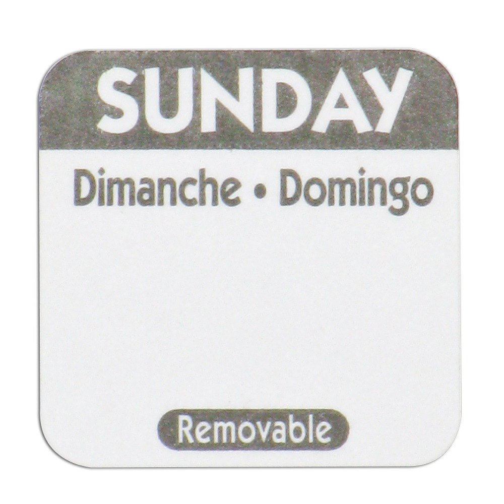 "National Checking Company R107R 1"" Sunday Day of the Week Removable Label - 1000/Roll"