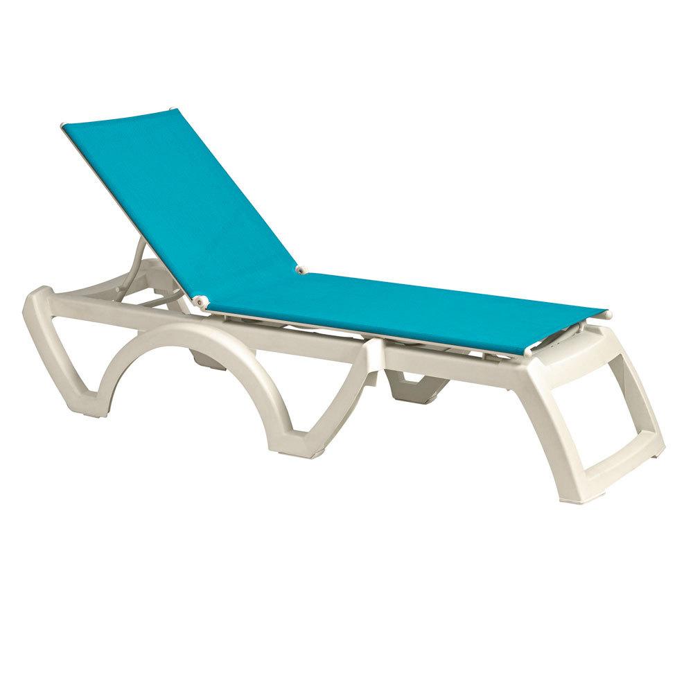 Grosfillex us476241 us746241 calypso white turquoise - Chaise miami grosfillex ...